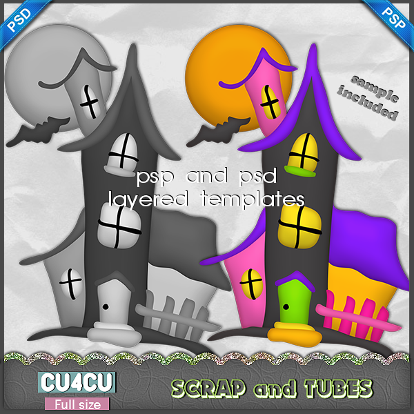 Haunted House Template (FS/CU4CU) .Haunted+House+Template_Preview_Scrap+and+Tubes