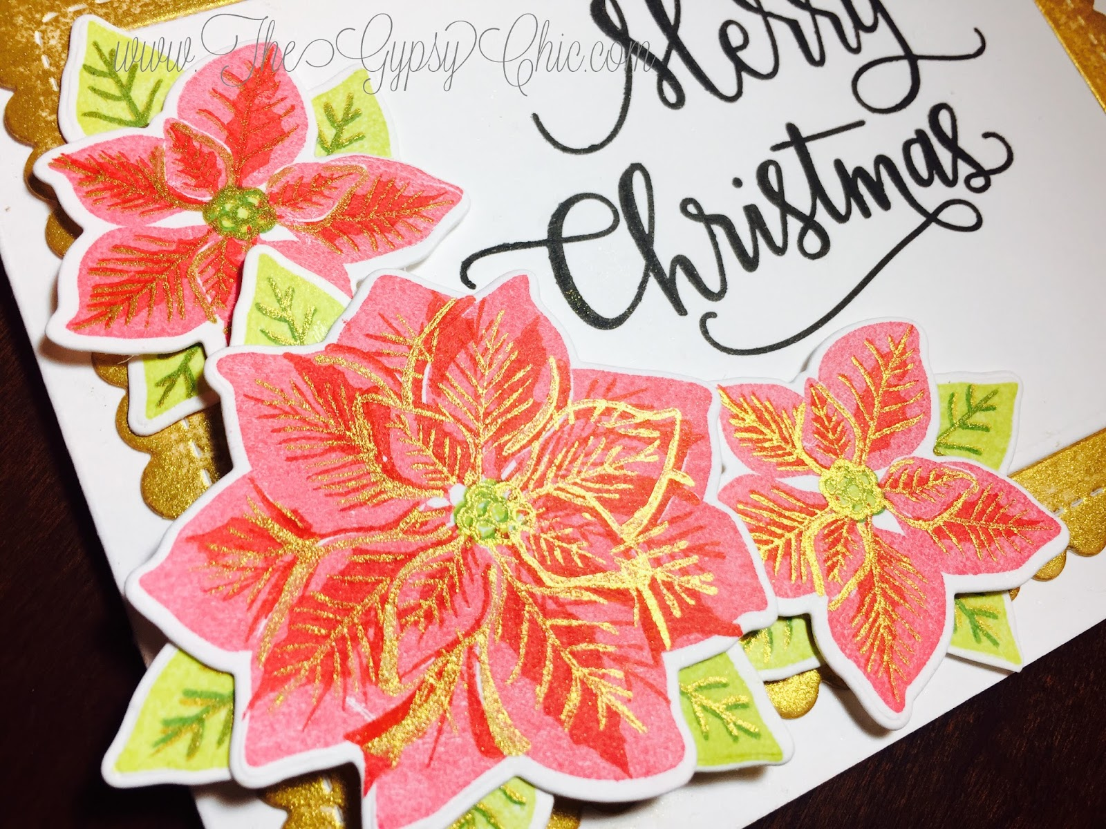 The gypsy chic wplus9pretty poinsettias the dies for this set are also a must and made this card come together super quick i used big scripty holiday greetings from simon says stamp for the kristyandbryce Gallery