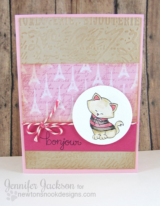 Bonjour Paris Kitty Valentine Card by Jennifer Jackson | Newton Dreams of Paris Stamp set by Newton's Nook Designs