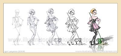 comment faire croquis et dessin de couture (femme en tenue de soubrette)