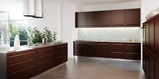 Modern dark brown kitchen cabinets