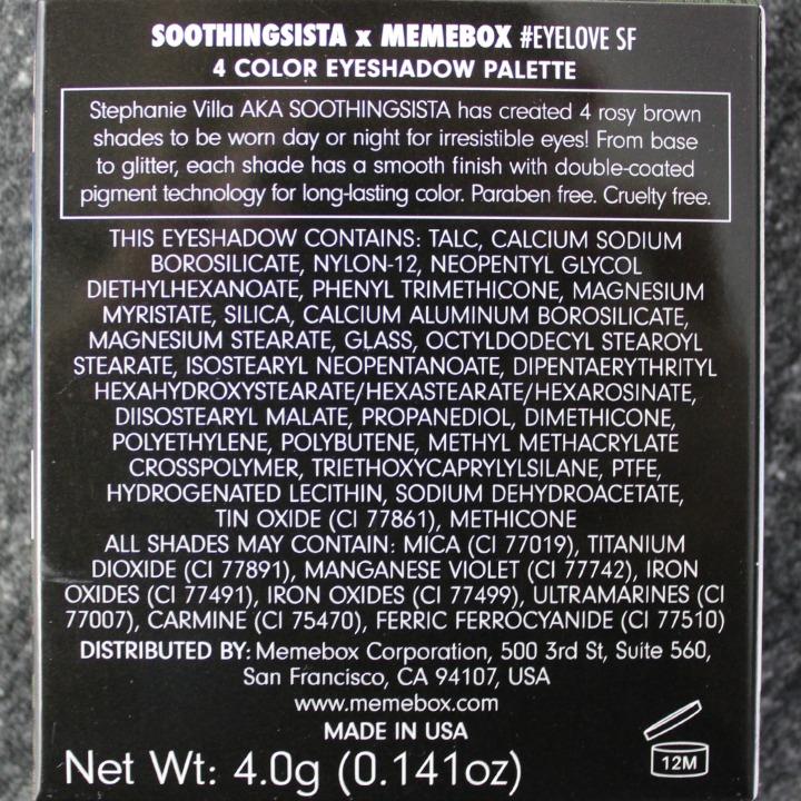 XO Memebox X Soothing Sista #EYELOVE SF Eyeshadow Quad ingredients list