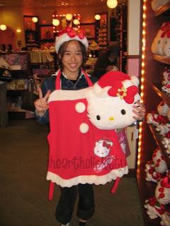 Hello Kitty Santa apron for Christmas and Hello Kitty plush soft toy head