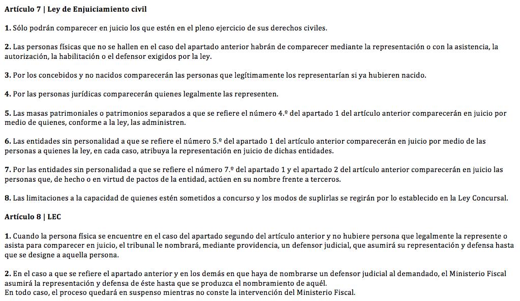 Arts. 7 y 8 de la Ley de Enjuiciamiento Civil
