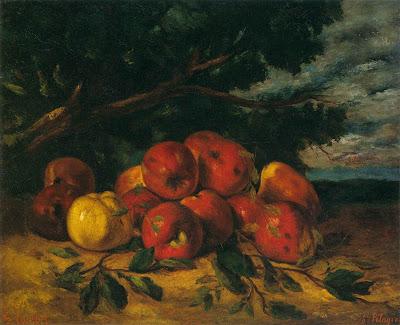 Gustave COURBET  -   Pommes rouges au pied d'un arbre