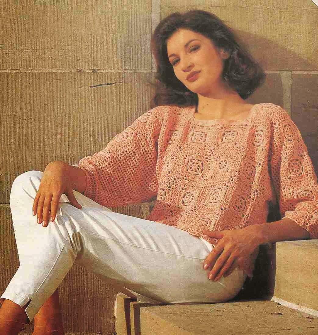 #117 Jersey de Cuadrados de Ganchillo o Crochet
