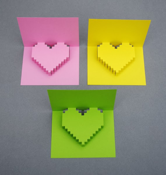 Popular diy crafts blog how to make a pixel heart pop up card for Pop up card craft