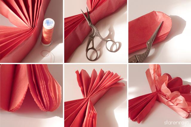 Tutorial hacer pompones con papel de seda star en rojo - Pompones con papel de seda ...