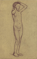 Mondrian A126 Standing Nude Girl with Raised Arms