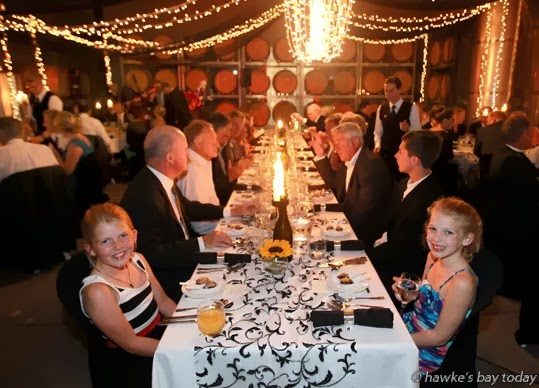 L-R: Molly Henley, 8, daughter of Michael Henley, CEO; Augusta Banks, 8, daughter of Charles Banks, USA, the new partner - 21st birthday celebration at Trinity Hill Winery, SH50, Hastings photograph