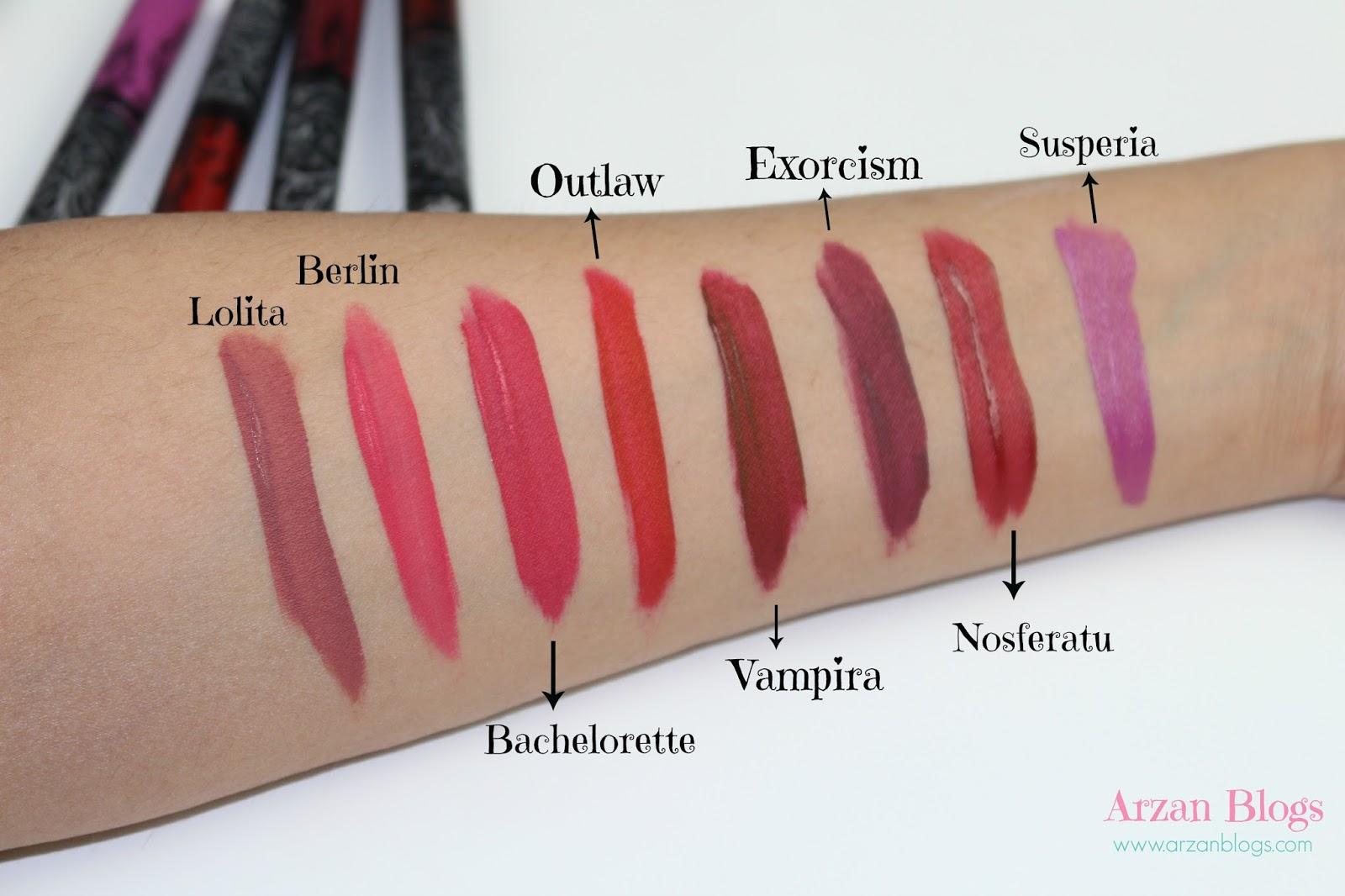 Beauty kat von d everlasting liquid lipsticks 3 new shades swatches