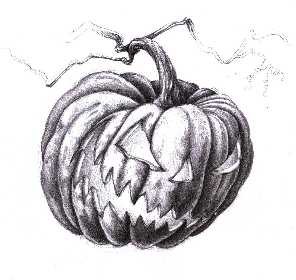 Scary Jack O Lantern Drawing