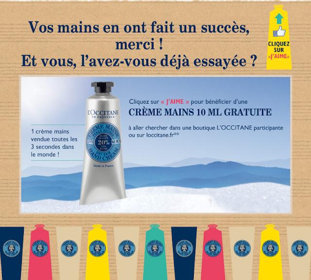 L'Occitane Crème mains 10ml gratuite