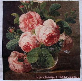 Розы в стеклянной вазе вышивка купить как сделать на 8 марта цветы