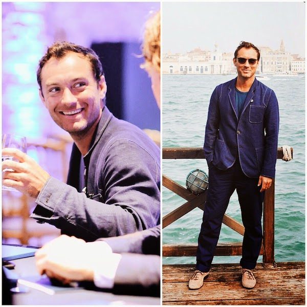JUDE LAW WEARS OLIVER SPENCER AT JOHNNIE WALKER BLUE LABEL SHORT FILM - THE GENTLEMANS WAGER AT THE VENICE FILM FESTIVAL