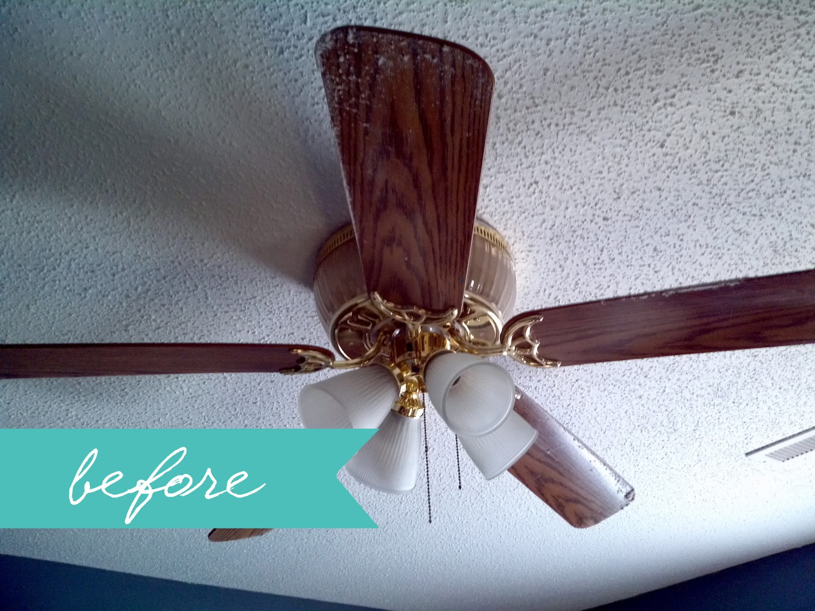 Housekeeping 101 how to clean your ceiling fans the house on of course i have cleaned it since we have moved in three years ago but it has been a couple months since i gave it a wipe down aloadofball Image collections