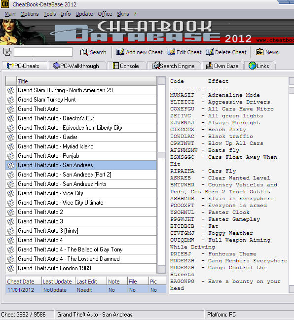 cheatbook database 2012
