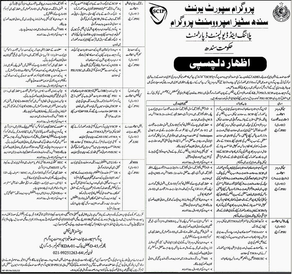 Vacancies in Govt Of Sindh