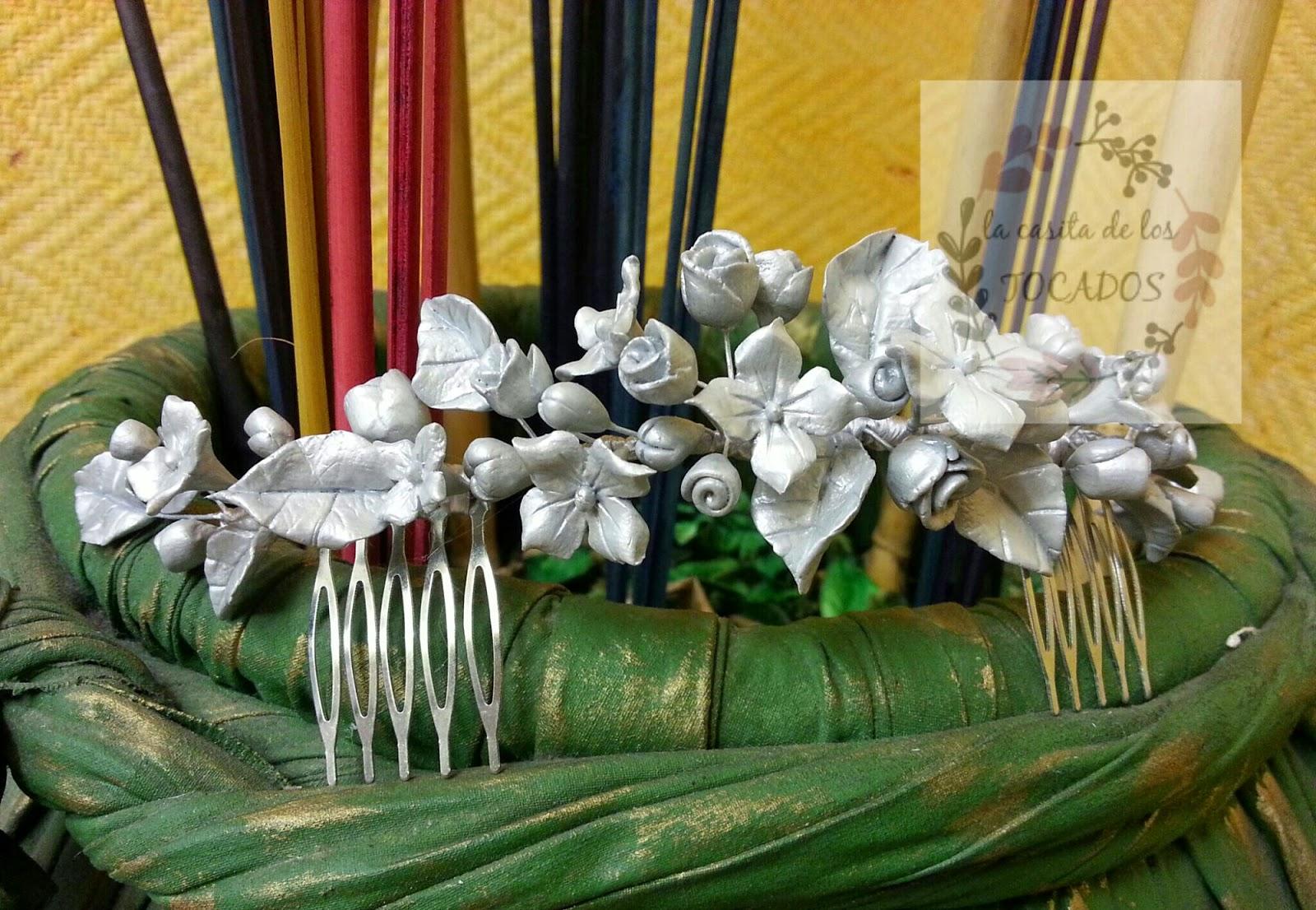 semicorona artesanala para novia vintage realizada en porcelana fría y pintada en color plata