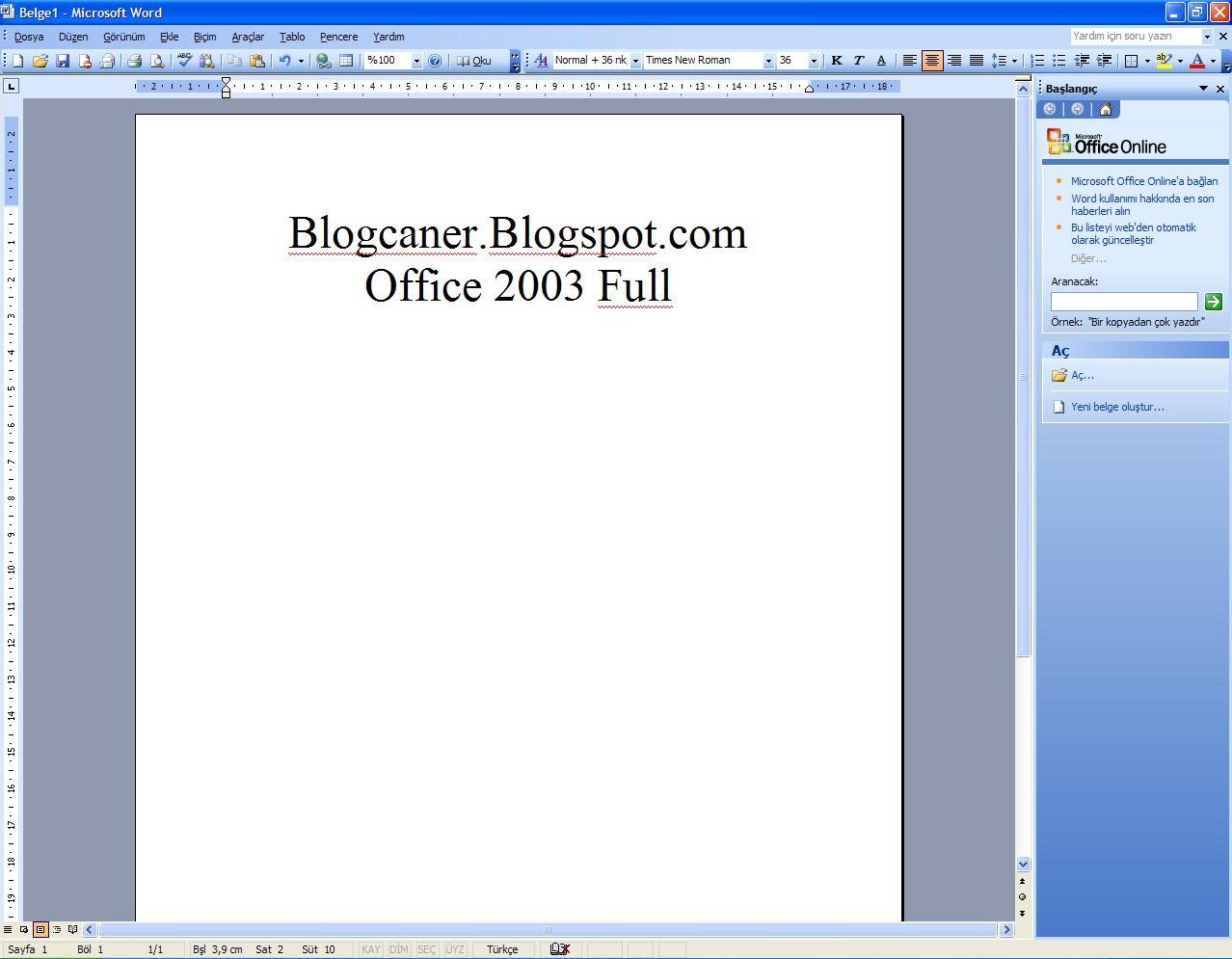 Microsoft office 2003 türkçe tek link full download