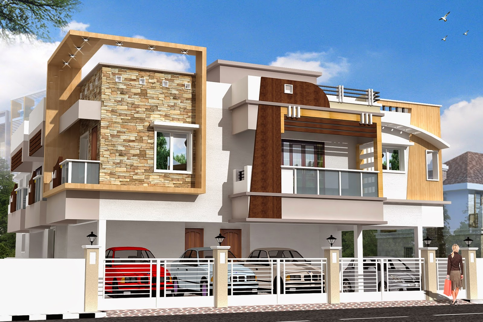 Luckydesigners 3d elevation residential building 3d house building