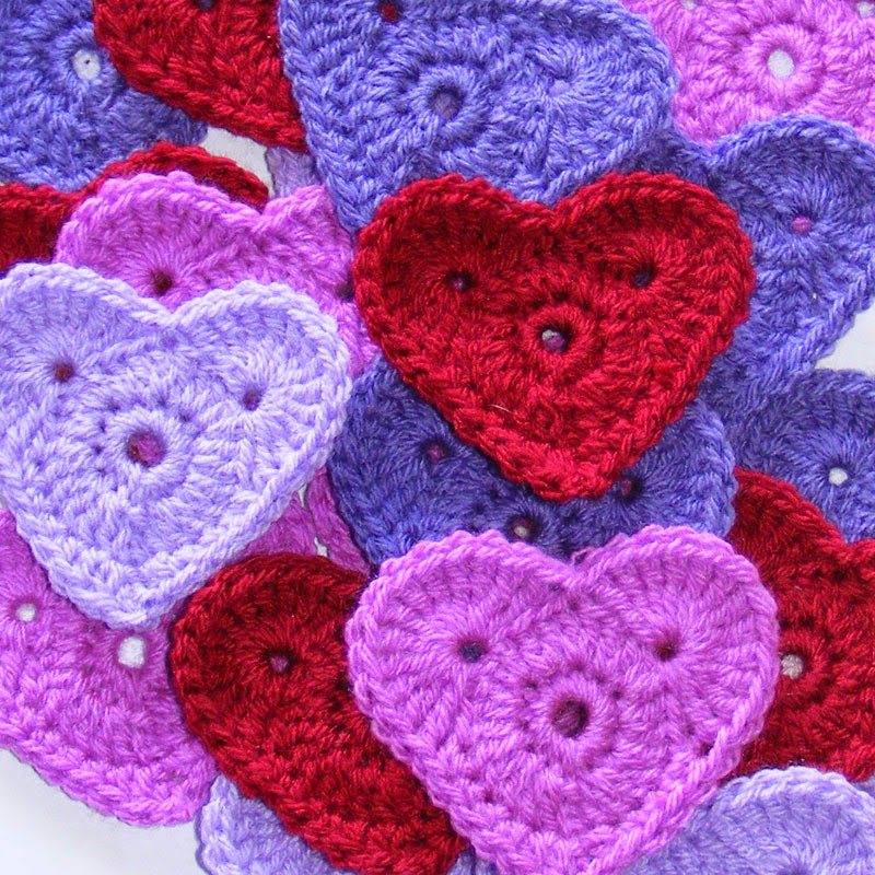 Valentine crochet hearts in red pink and purple