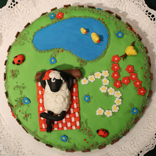 tarta fondant oveja