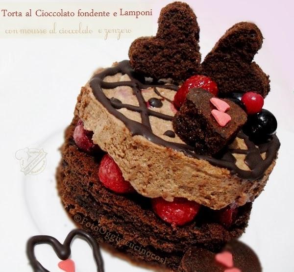 torta al cioccolato fondente e lamponi con mousse al cioccolato e zenzero | per re-cake