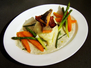Pan-fried Alaskan Salmon with Vegetables and a Cream Dill Sauce