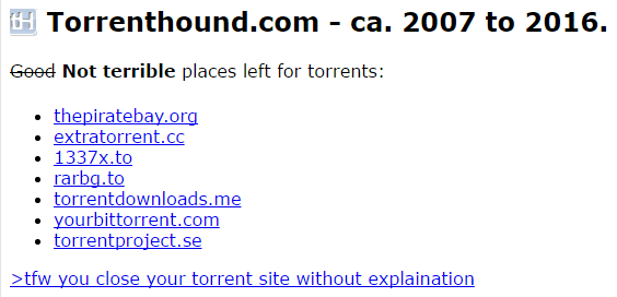 Yet Another Turrent Web Site Has Been Shut Down   TorrentHound ...