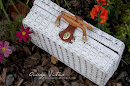 Painted Wicker Picnic Basket
