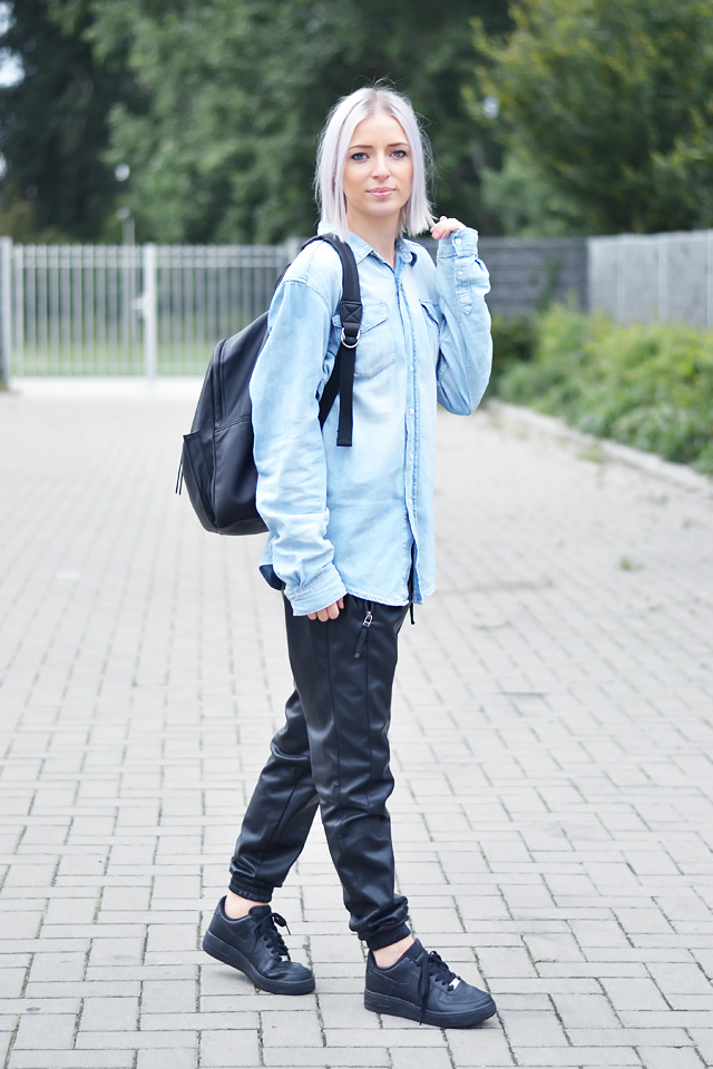 Outfit, ootd, oversized, denim shirt, boyfriend shirt, leather backpack, mango, leather track pants, joggers, vero moda, nike air force 1 sneakers, black, street style, laidback, summer 2015