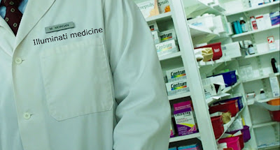 pharmacist in white lab coat in a drugstore, chemist