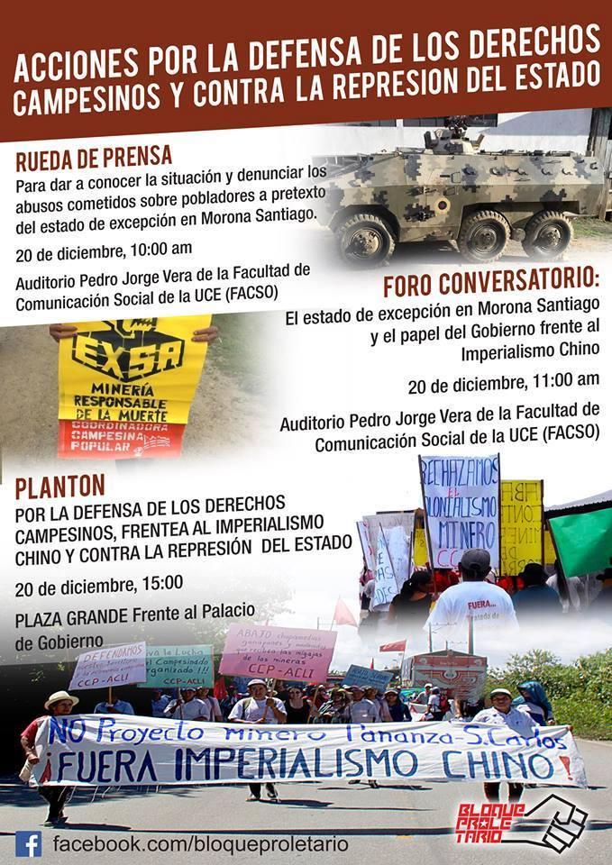 Acciones por estado de excepción y persecución a campesinos en Morona Santiago