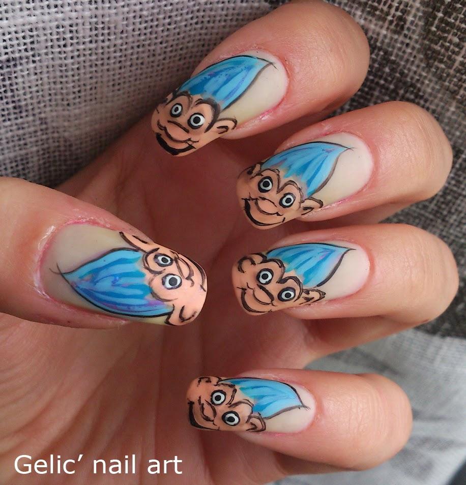 Trolls Movie Nail Art: Gelic' Nail Art: 31DC2013 Day 29; Troll Doll Nail Art