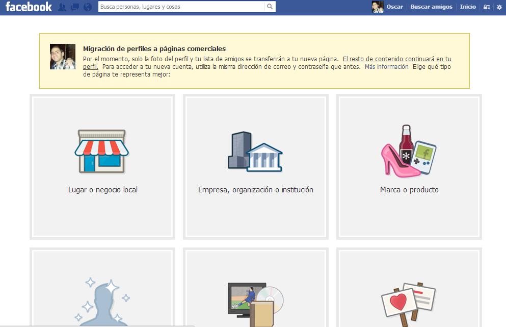 convertir perfil de facebook en pagina paso 1