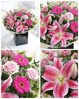 Fresh Flower Bouquets, Next Day Floral Delivery, Quick & Easy Gifts for Her, Stargazer Lilies, Pink Gerbera, Pale Pink Roses