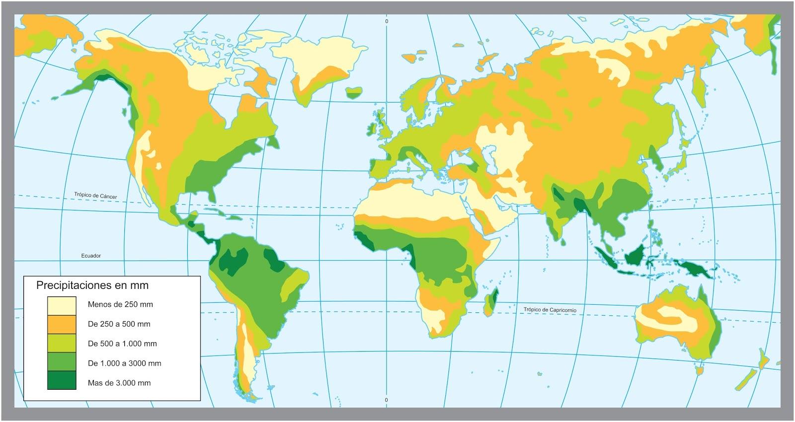 Mapamundi de precipitaciones anuales  CLIMA Y TIEMPO  Pinterest