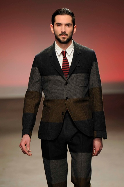 Men 39 s styling oliver spencer aw13 14 collection for Black suit burgundy shirt