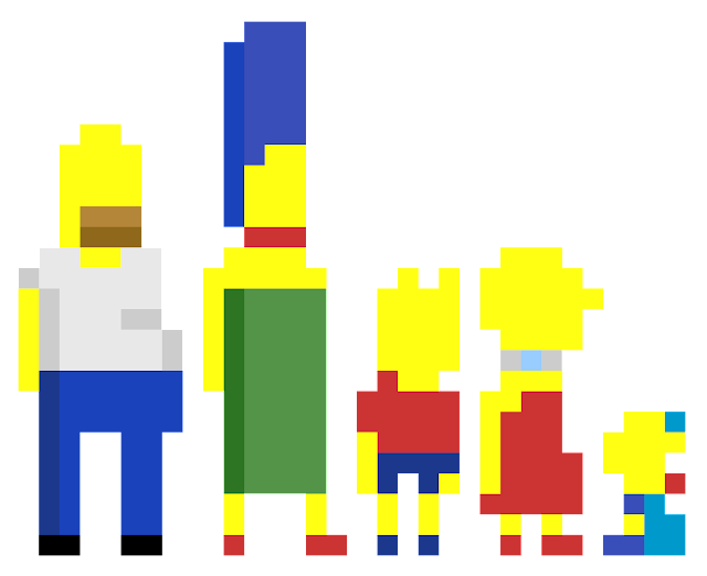 The Simpsons pixel art template building ideas