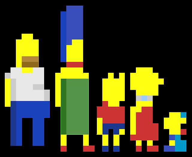 The Simpsons pixel art template building ideas
