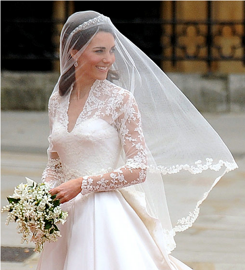 African pearl bridal ways to wear a tiara and veil at the for Princess catherine wedding dress