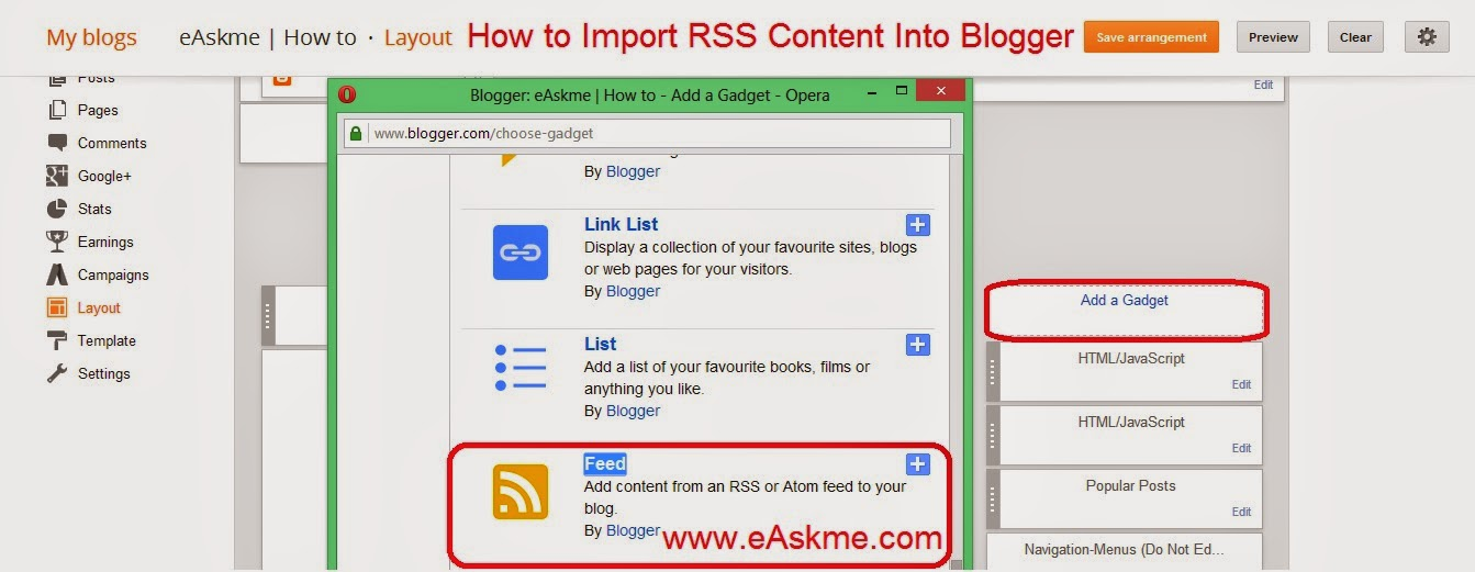 How to Import RSS Content Into Blogger : eAskme