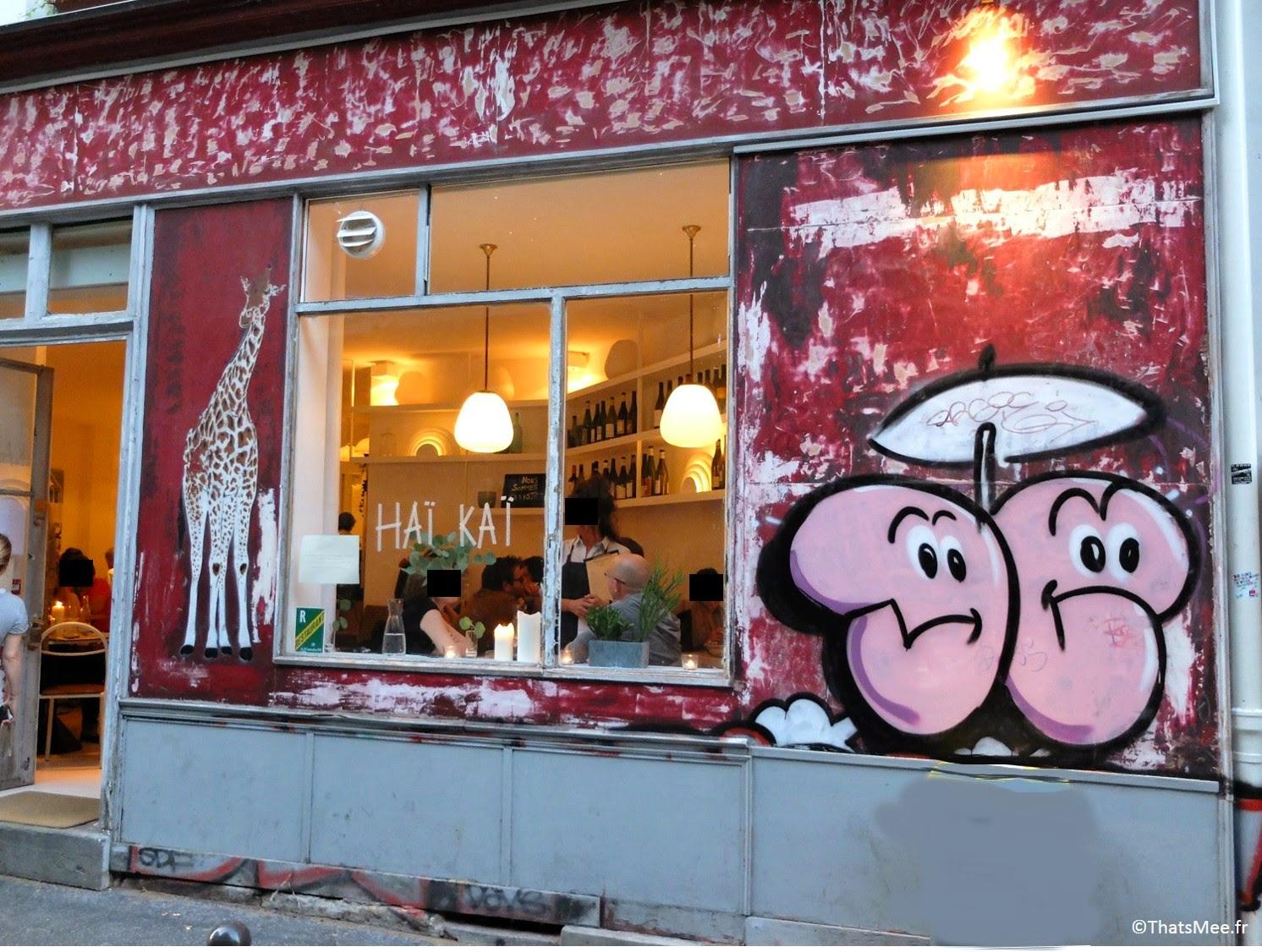 Déco fresque mur tag graffiti girafe Restaurant Haï Kai Paris, menu food du marché caviste cave à vins bio resto Haï Kai quai de Jemmapes Paris 10ème canal Saint-Martin