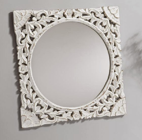 Espejo redondo madera tallada