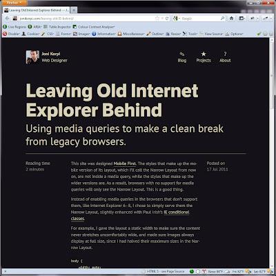 Screen shot of http://jonikorpi.com/leaving-old-IE-behind/.