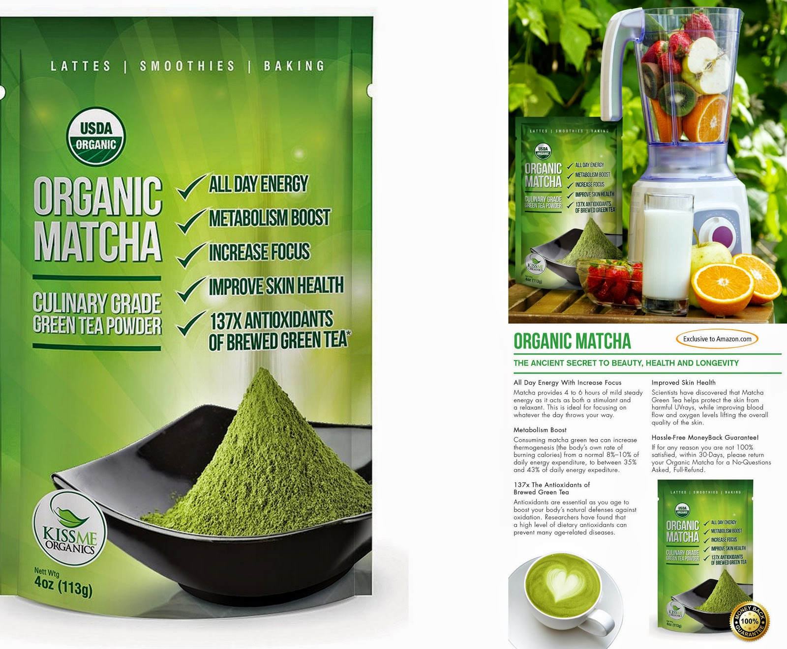 KISS ME ORGANICS MATCHA GREEN TEA POWDER www.sandysandhu.co