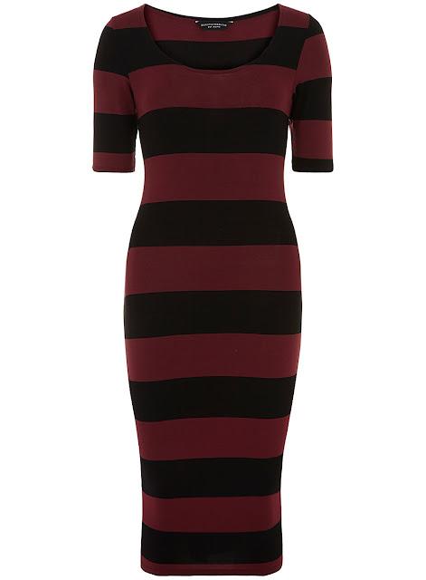 striped oxblood dress