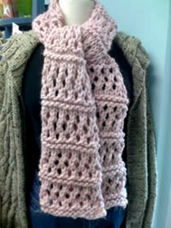 Knitting Pattern For Yarn Over Scarf : Satin Scarf Satin Scarves: Chunky Scarf Knitting Patterns