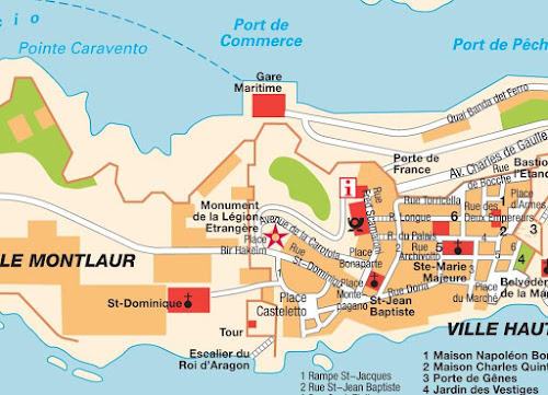 Mapa do centro de Bonifácio – Córsega